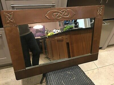 Arts & Crafts Copper Mirror Archibald Knox for Liberty with Celtic Motifs.