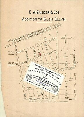 Chicago Antique 1904 Advertisement Map: E.W. Zander & Co's ADD to Glen Ellyn