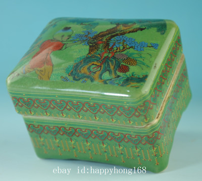 old china green glaze porcelain hand-made child box /qian long mark Cb01E