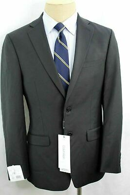 New 40R Calvin Klein Extreme Slim Fit Black Dual Vent Flat Front Wool Suit MA0