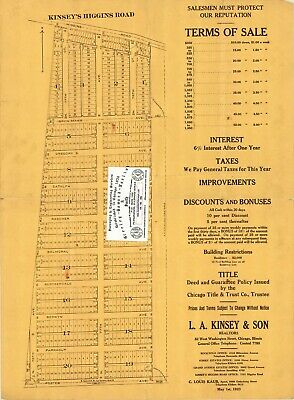 Chicago Antique 1923 Advertisement Map: Kinsey's Higgins Road Subdivision