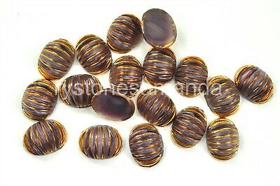 Amethyst & Gold West German 18x14mm Textured Flat Back Stones, 18 pieces, -A0042