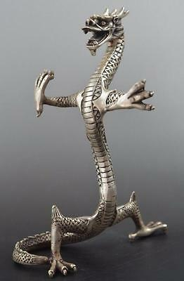 Handwork Collectible china old Miao Silver Carve Lifelike Dragon Statue d02