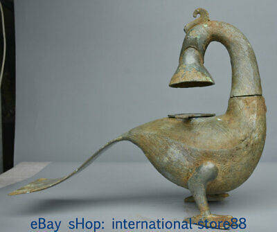"""15.6"""" Antique Old Chinese Bronze Ware Dynasty Palace Duck Beast Zun Statue"""