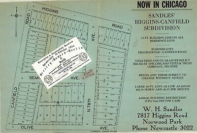 Chicago Antique 1926 Advertisement Map: Sandles' Higgins-Canfield Subdivision