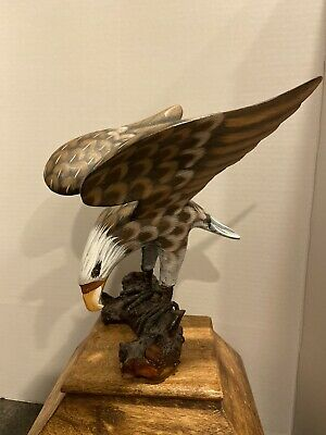 Exquisite Hand Carved and Painted Wooden American Bald Eagle Folk Art Sculpture