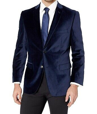 Designer Brand Mens Blue Size 48 Regular Velvet Tuxedo Blazer Cotton $84 #663