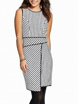 XOXO Women's Dress White Black Size Small S Asymmetrical-Hem Striped $59 #149