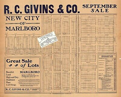 Chicago Antique 1893 Advertisement Map: R.C. Givins & Co. New City Of Marlboro