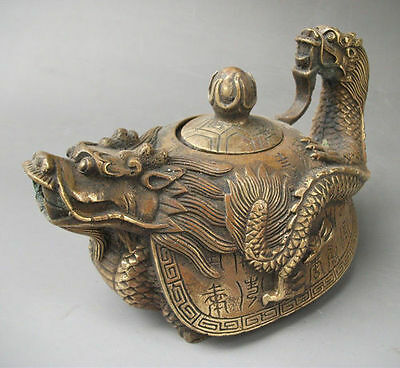 Wonderful Collectible Rare Oriental Bronze Signed Carved Dragon Teapot Statues