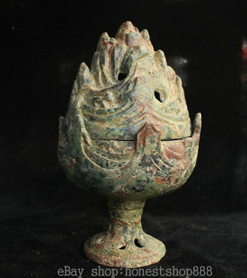 18CM Ancient Chinese Bronze Ware Dynasty Palace Hill incense burner Censer