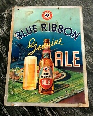 Rare Vintage Pabst Blue Ribbon Ale - Brewing Co Cardboard Beer Sign Milwaukee Wi