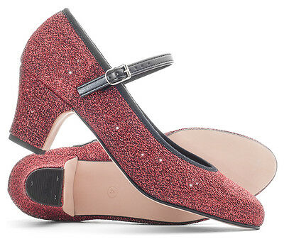 """Ladies Red Glitter Character Stage Showtime Dance Shoes 2"""" Heel By Katz"""