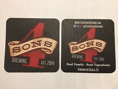 Four Sons Brewing Co Beer Mat Huntington California