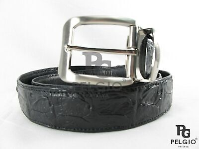 "PELGIO Genuine Crocodile Alligator Backbone Skin Leather Men's Belt 46"" Black"