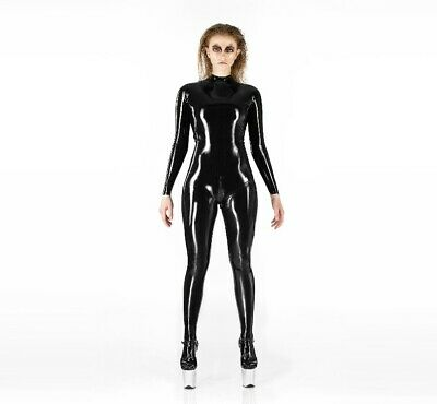 LATEX BASIC CATSUIT (100% Natural Black Rubber) Socks And Gloves