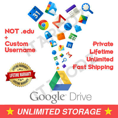 G-Suite Unlimited Drive Storage Google Drive Account (your username) (NOT .edu)