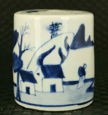Asian old porcelain Handpainted house tree statue exquisite seal gift /Ta02