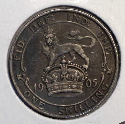 1905 Great Britain ONE SHILLING Rare Date coin King Edward VII KM-800