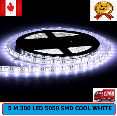 Bright 5M SMD 5050 Waterproof 300LED light Cool White LED Flash Strip 12V Light