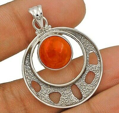 Natural Orange Carnelian 925 Solid Sterling Silver Pendant Jewelry EA17-1