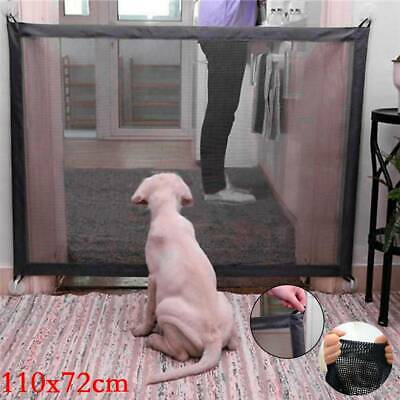 Magic Retractable Pet Dog Cat Gate Safe Net Guard Mesh Fence Enclosure UK