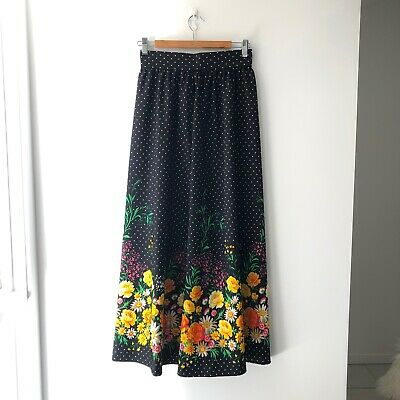 FLOWER MEADOW Border 60s 70s Vintage Maxi Skirt with Colourful Daisy and Roses