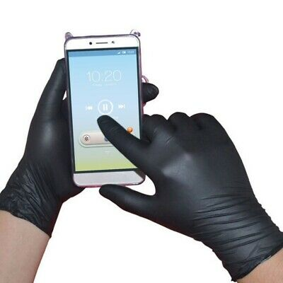 100 Pcs Rubber Comfortable  Mechanic Nitrile Gloves Black Exam M S L@