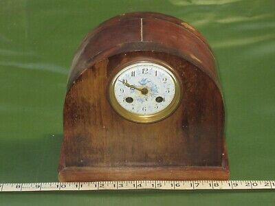 antique vintage wooden mantel clock 1950s? brass, untested for spares or display