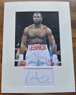 LENNOX LEWIS- A Hand Signed Card is Presented With A Photo-Mounted & Matted,COA