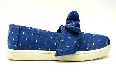 New Tiny Toms Toddler Blue Bow Knot Strap Slip On Canvas Shoes Size US 8 EU 24.5