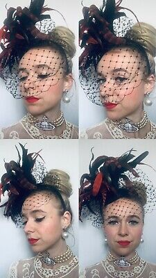 Beth morgan Milinary Races Wedding Ladies Day Black Red Fasinator Feathers Used