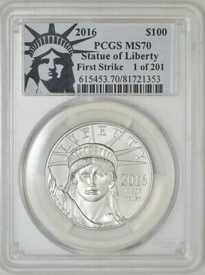 2016 $100 Statue of Liberty Platinum Eagle First Strike MS70 PCGS 942911-2