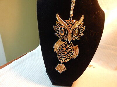 Vtg 1960S Large Three Piece Owl Necklace Mid Century Modern Gold Tone Avon