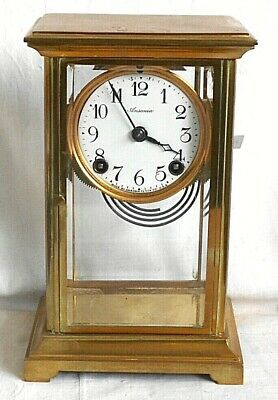 Ansonia Brass Striking Mantel Clock With Glass Sides
