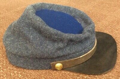 Reproduction Confederate English Blue/Grey Wool Cap With Blue Wool Crown.