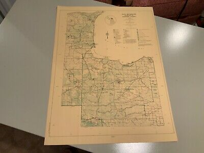 Vtg. 1974 West Chippewa County Michigan DNR Highway & Recreation Information Map