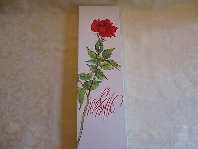 Vintage Advertising Lord & Taylor White Gift Box with Long Stem Red Rose