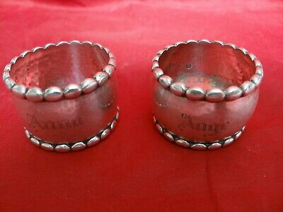 Very Fine Pair Antique 1916 830 Silver Hand Hammered Napkin Rings Denmark