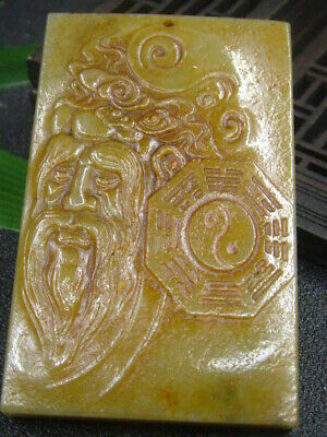 Antique Chinese Nephrite Celadon-HETIAN-OLD Jade FENGSHUI Statues/Pendant