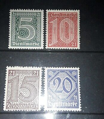 """DR 1920 official stamps with """"21"""" mint"""