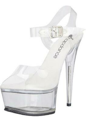 Clear Platform Sandal With Quick Release Strap 6in Heel Size 8