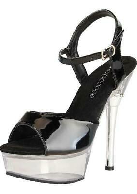 Black and Clear Platform Sandal w/ Crystal Accent and Quick Release Strap 6in...