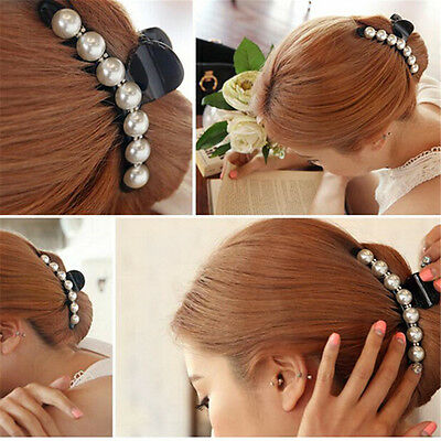 Women Lady Girl Pearl Crystal Hair Clip Clamp Claw Haedpiece Hair Accessory  FN