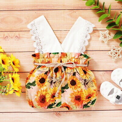 Toddler Baby Girls Romper Bodysuit Jumpsuit Summer Clothes Outfits Size 3-18Mons