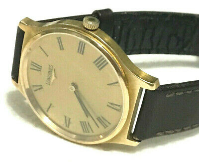 Vintage Mens 9ct gold Longines Watch & leather strap - 32 mm