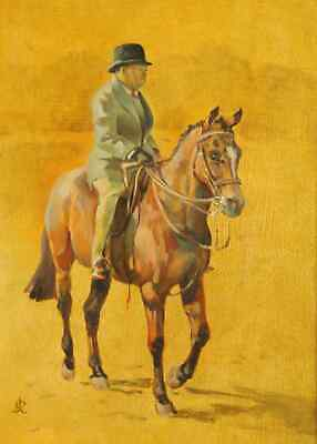 Joy Stanley Ricketts Winston Churchill on Horseback signed oil painting  c.1950
