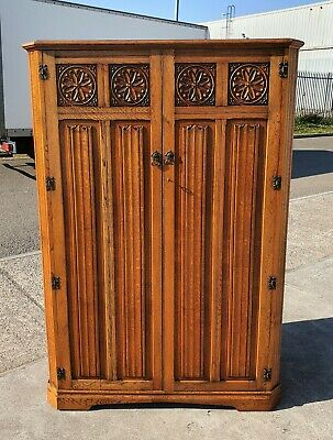 Vintage Linen Fold Panel Front Double Wardrobe  Repolished   Delivery Available