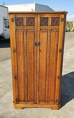 Vintage Linen Fold Panel Front Single Wardrobe  Repolished   Delivery Available