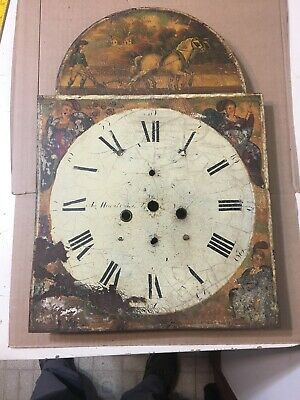 Antique Grandfather Clock Dial W/ Hand Painted Horse Drawn Plow Farm Scene